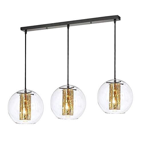 Licht Cluster-glas (LMDH 3-Licht Glas moderner klarer Globus Cluster Anhänger für Schlafzimmer Küche)