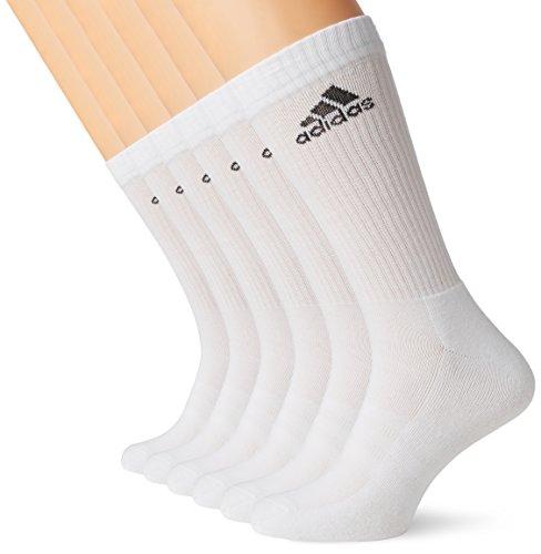 adidas Unisex Socken 3-Streifen Crew, 6er-Pack, white, Gr. 39-42, - Socken Adidas Herren Tennis