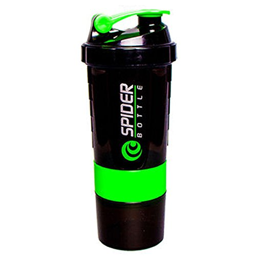 HOUSKI 500 Ml Protein Shaker Gym Bottle With 2 Storage Compartments And 1 Pill Tray