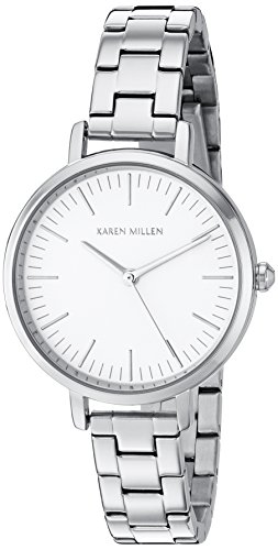 Karen Millen Women's Quartz Watch with White Dial Analogue Display and Silver Stainless Steel Bracelet KM126SM