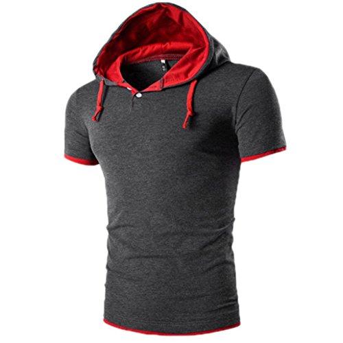 OverDose Herren Sommer Hoodie Bluse Mode Kapuzen V-Ausschnitt Pullover Herren Kurzarm Sports T-Shirt Slim Fit Hemd Oberteile Tank Tops Dunkelgrau