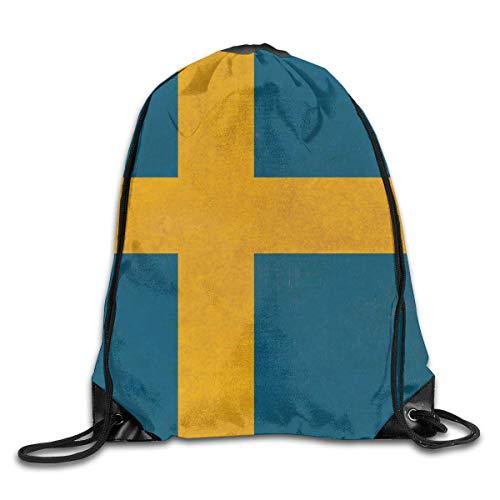 Flag String (mchmcgm Economic Drawstring Backpack String Bags Sweden Flag Travel100% Polyesterstring Sack)