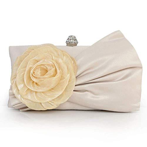 XiaoZou Blume Frauen Clutch Wallet Abendkleider for Hochzeit Silk Chiffon Blumen Abendtasche (Color : Beige) -