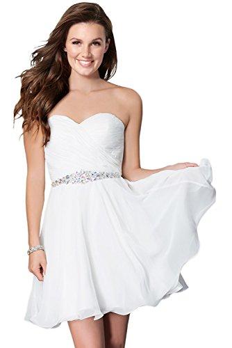 Milano Bride Damen Liebling Chiffon Herzform Kurze Abendkleid Heimkehrkleider Abschlusskleid Strass...