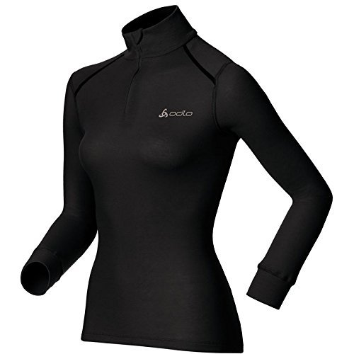 Odlo Damen BL TOP Turtle Neck l/s Half Zip Active WARM Shirt, Schwarz, XL -