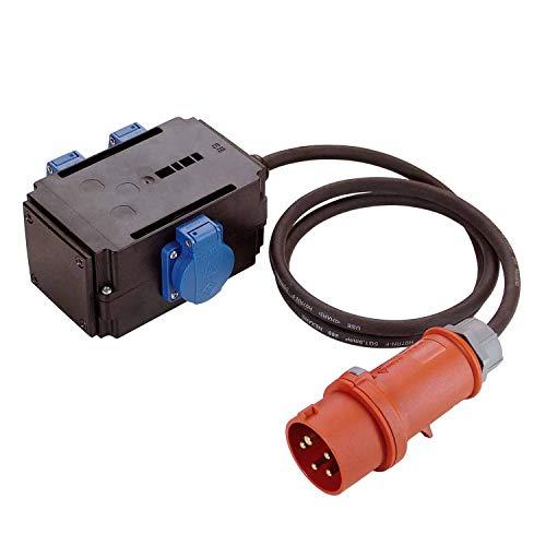as - Schwabe MIXO Adapter / Stromverteiler NAGOLD - CEE-Stecker mit 1,5 m Gummischlauchleitung auf 3 Schuko Steckdosen - Robuster Baustellen Starkstrom-Verteiler - IP44 - Made in EU I 60527