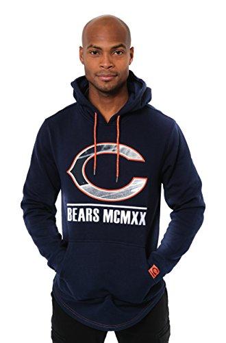 Icer Brands NFL Herren Fleece-Pullover Hoodie Sweatshirt Gesticktes Team-Logo, Chicago Bears L/S Pullover Applique Hoodie, Navy -