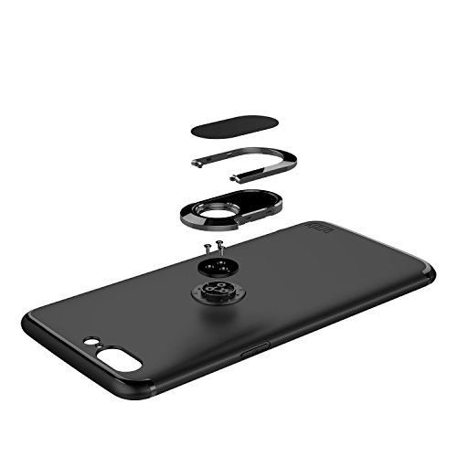 iPhone 7 Hülle,TPU Silikon Schutzhülle mit Metall Ring Ständer Stand [360 Grad Ring Stand] für Apple iPhone Soft Case Silicon Back Cover Slim Shell Gel Holster Ultradünnen Schale (iPhone 7, Schwarz) Schwarz