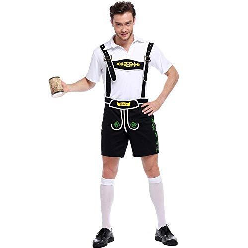 Aeromdale Herren Oktoberfest Kostüme Lederhosen Bayerischer Typ Deutsches Traditionelles Bier Herren Halloween Cosplay Festival Kostüm - Schwarz - - Deutsches Bier Festival Kostüm