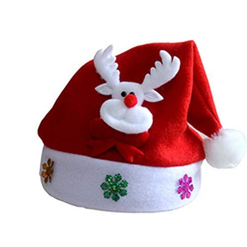 LED Weihnachtsmütze Nikolausmütze mit LED Weihnachtsfeier Rot Santa Mütze Nikolaus Dicker Fellrand aus Plüsch kuschelweicher Hut für Erwachsene Kostüm Weihnachtsparty Dekoration, Elch