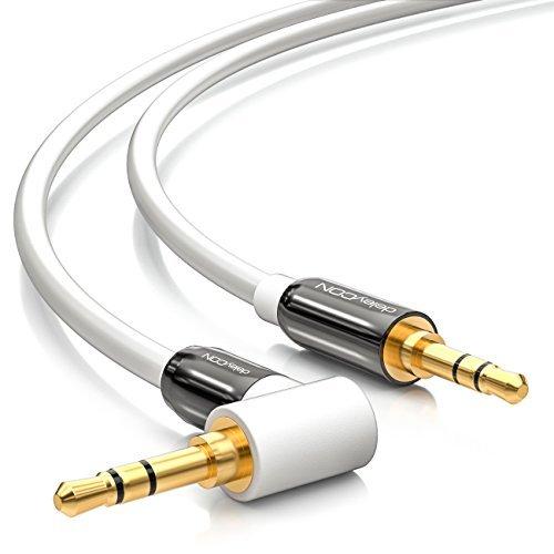 deleyCON 3m Klinkenkabel 3,5mm AUX Kabel Stereo Audio Kabel Klinkenstecker 1x 90° gewinkelt für PC Laptop Handy Smartphone Tablet KFZ HiFi-Receiver weiß (Das Aux-kabel Stereo)