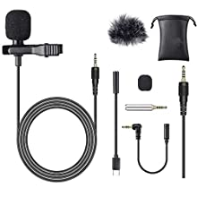 TOLIANCLE Lavalier Microphone 8 Pieces Condenser Microphone Perfect for iPhone, Android, Camera, PCs, Laptops, DV Camcorders and Lapel Microphone for YouTube, Interviews, Games, Video Recording