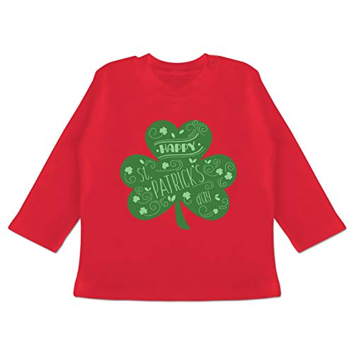 Kostüm Person Armee - Anlässe Baby - Happy St. Patricks Day Kleeblatt - 18-24 Monate - Rot - BZ11 - Baby T-Shirt Langarm