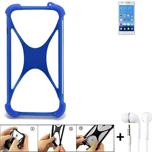 K-S-Trade Handyhülle Gionee Elife S5.5 Bumper Schutzhülle Silikon Schutz Hülle Cover Case Silikoncase Silikonbumper TPU Softcase Smartphone, Blau (1x), Headphones