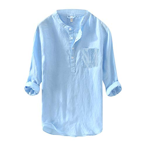 BHYDRY Herren Mode aus Reiner Baumwolle und Hanf Langarm Top Casual Bluse Top(XX-Large,Blau) -