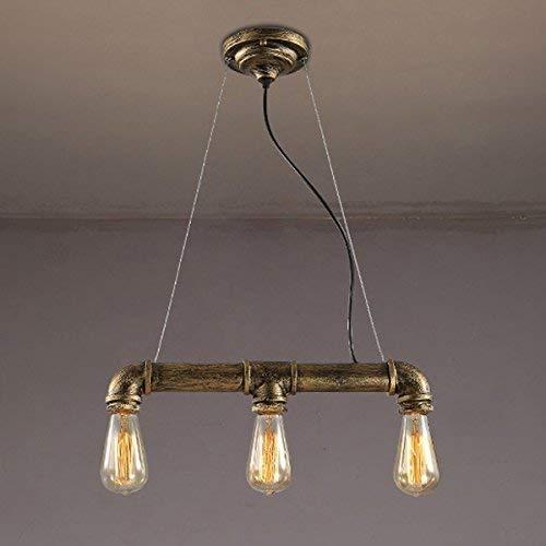 Sandy Cowper Vintage Industrie Licht Pendelleuchte Kronleuchter Deckenleuchte Rohr Suspension 3 Lichter Antike Bronze Kronleuchter Kristalle fällt -