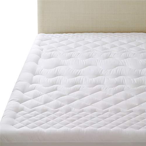 Bedsure coprimaterasso imbottito matrimoniale 160x200cm con motivo trapuntato a 7 zone design ergonomico - topper materasso spesso e morbido, bianco, adatto per materassi a molle e acqua