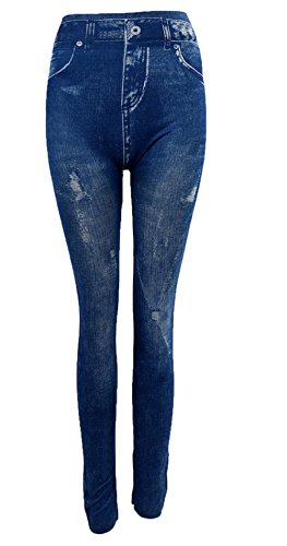 Inception pro infinite leggings donna - effetto jeans - strappato - pantacollant - taglia unica - aderente - elasticizzato - idea regalo -