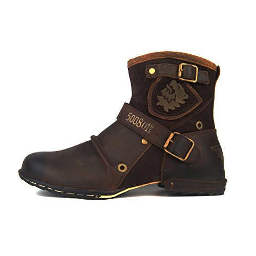 OTTO ZONE Herren Worker Boots | Schnürstiefeletten Leder Optik | Blockabsatz Profilsohle | Schnürer Schuhe Schnallen | Schnürboots |OZ-5008-1