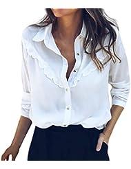 Blusas Mujer, Camisa de Manga Larga Mujer Color sólido Botón de una Sola Fila Encaje Suelto y Transpirable Otoño Verano Shirt Señorita Elegantes Tops Camiseta Marlene1988