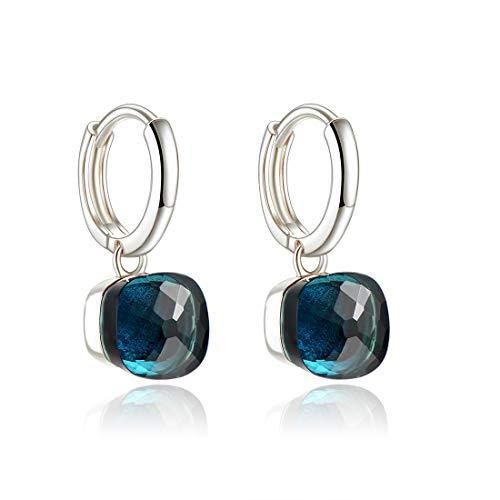 Metjakt, classici orecchini pendenti in argento sterling 925 massiccio, orecchini per donne, gioielli raffinati (Dark Blue, Argento)