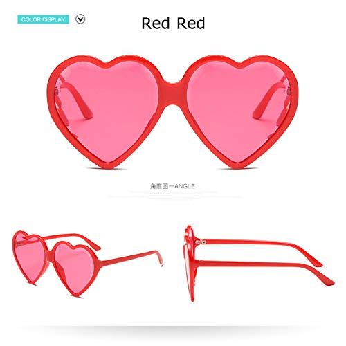 Taiyangcheng Las Mujeres en Forma de corazón gafas de sol de lujo claro ojo de gato gafas de sol de las señoras del Color del Caramelo lente transparente gafas,Rojo Rojo