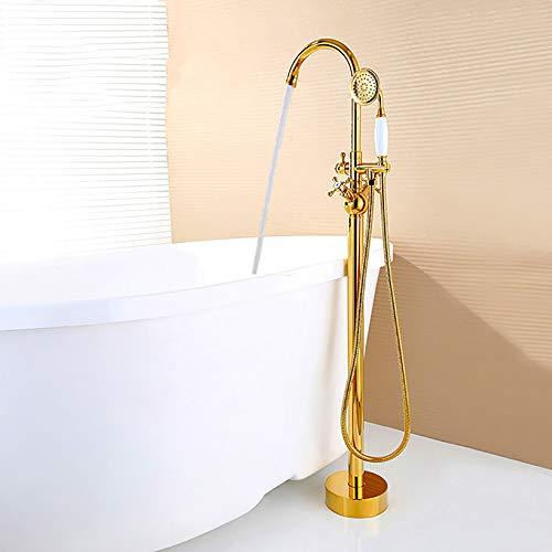 ZJINHUI Badewannen-Mischer-Stand Badewanne Wasserhahn, Freistehend Filler-Mischer-Hahn mit Handbrause Kopf Set, Gold