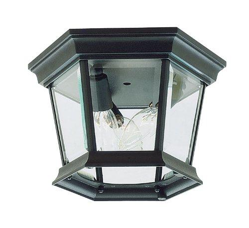 Livex Lighting 7510-04 Hamilton 3 Light Black Cast Aluminum Outdoor Flush Mount with Clear Beveled Glass by Livex Lighting