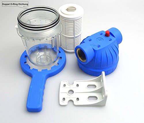 5Zoll Vorfilter für Garten Pumpen und Hauswasserwerke, Schmutzfilter Sandfilter. Pumpenvorfilter mit Filtereinsatz, Messing-Innengewinde 1Zoll (ca.30,9mm). NEUHEIT: Doppel O-Ring Dichtung.