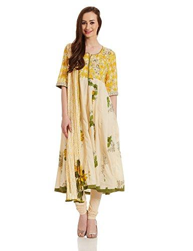 BIBA Women's Anarkali Salwar Suit (SKD4893_yellow_36)