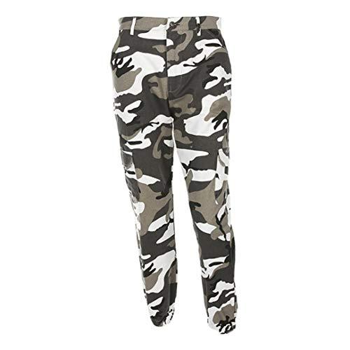 ORANDESIGNE Damen Camouflage Hose Mädchen Hip Hop Jogger Trainingshose Casual Sport Camo Cargo Hosen Grau EU X-Small (Bauch T-shirts Junioren Für)