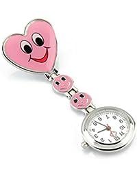 SODIAL(R) Reloj Tipo Enfermera Cuarzo Esfera Redondo Corazon Risa Color Rosa