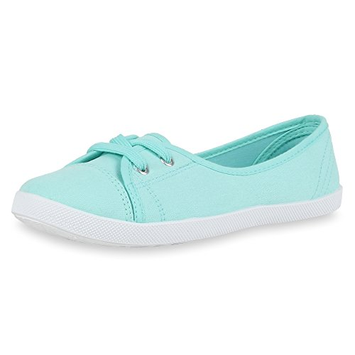 Sportliche Damen Ballerinas | Bequeme Basic Schuhe | Stoff Flats aus angenehmen Obermaterial | Gr. 36-41 Hellgrün