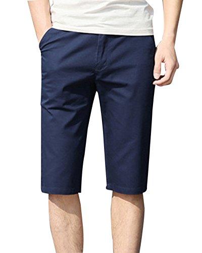 Herren Drawstring Casual Beach Shorts Bermudas Cargohose Chino Hose Kurze Anzughose Blau 32