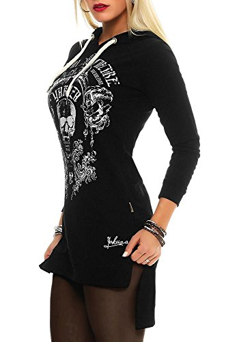 Yakuza Femme Hauts / T-Shirt manches longues Skull Hooded Noir