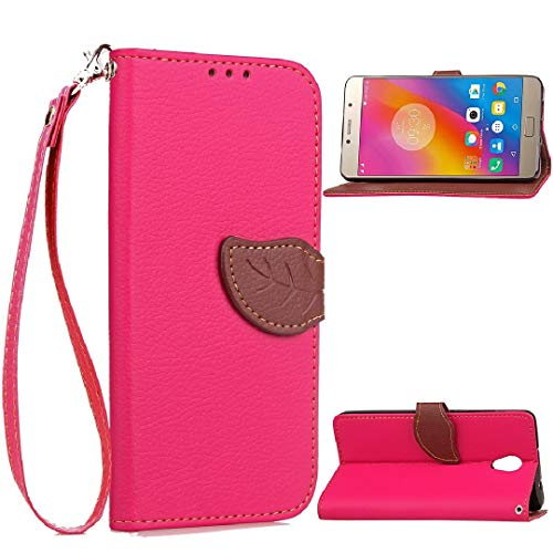 TAITOU Lenovo Vibe K5Plus/A6020a46/Lemon3 K32C36 Case, Vivid Knurling Tree Leaf Skin Lid Wallet Cover, Hanging Sling ID Card Slot, New PU Leather Ultralight Awesome Case for Lenovo Vibe K5 Plus Rose
