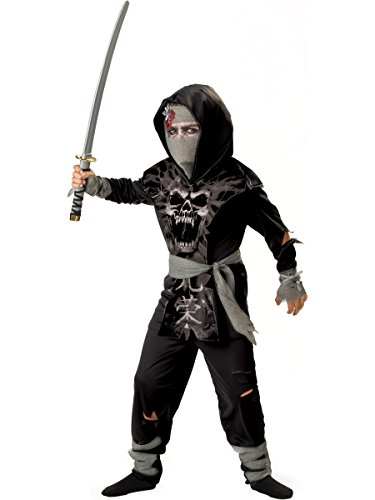 InCharacter Costumes, LLC Boys 8-20 Dark Zombie Ninja Tabard Set, Black/Grey, Size 10 by InCharacter (Dark Ninja Kostüm)