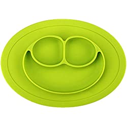 JJOnlineStore - Kids placemate placa con ventosa antideslizante portátil dividido sección sonrisa infantil bebé alimentación bandeja plato (Green)