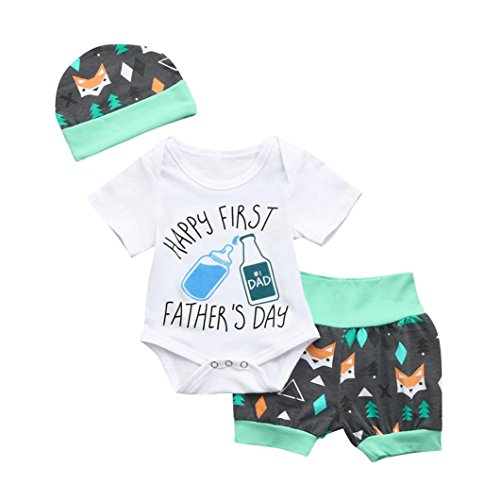 Gaddrt 3Pcs Newborn Baby Girls Boys Letter Floral Romper Shorts Father's Day Outfits