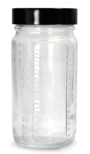 qorpak glc-05026Graduated mittleren Runde Flasche mit 33–400schwarz Phenolharz-Massives PE gefüttert Gap, 1oz, Klar (432Stück) (Mittlere Runde Flasche)