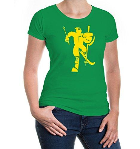 Girlie T-Shirt Cross-Country-Skiing Comicfigur-XXL-Kellygreen-Sunflower