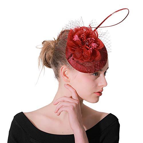 se Flower Pillbox Hat Fascinators Derby-Hut für Mädchen und Damen, die Teeparty Wedding sind ()