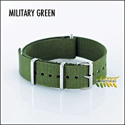 G10 Nato Nylon Watch Strap,Military Green, (16,18,20,22 & 24mm width's)