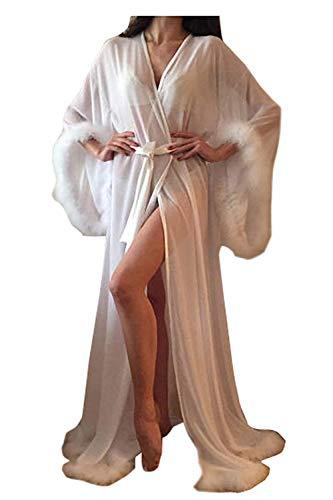 ShineGown Damen Pelzbesatz Perspektive Schiere Lange Dessous Robe Nachthemd Bademantel Pyjamas Nachtwäsche