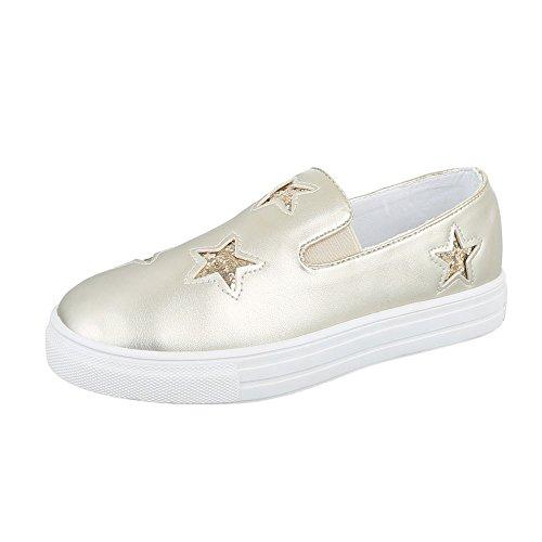 Sneakers Ital-design Basse Sneakers Da Donna Basse Scarpe Casual Moderne Oro F05-2