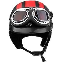Sharplace Casco con Visera Seguridad Hombre Moto Suave Confortable Accesorio Ciclismo - Rojo negro