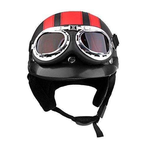 Sharplace Motorrad Herren Jet Helm Fahrradhelm mit Visier UV-Schutzbrillen Retro Vintage-Stil - Schwarz Rot
