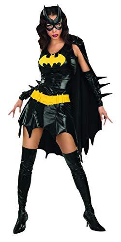 costumebakery - Damen Frauen glänzendes Metalic Batgirl Kostüm mit Kleid mit Cape, Arm- und Siefelstulpen, Gürtel und Maske, perfekt für Karneval, Fasching und Fastnacht, XS, Schwarz