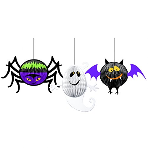 amscan 3-teiliges Decken-Deko Set * Monster Boo 3D * für Kindergeburtstag oder Halloween // Hanging Decorations Party Deko Decke Dekoration Kinder Geburtstag Birthday Gruseln Geist Fledermaus