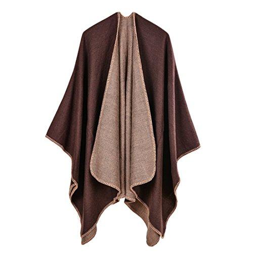 GWELL Ponchos Capes Femme Large Echarpe Châle Manteau Tricot Couleur Pure Hiver Automne Marron
